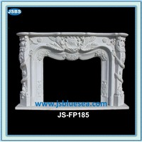 decorative white marble fireplace surround