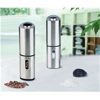 Electric salt or pepper mill with light