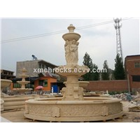 Yellow Travertine Pool Fountain,sculpture fountain