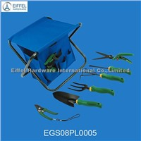 8pcs garden tool set with foldable fabric seat-EGS08PL0005