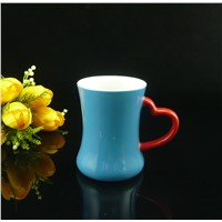 Ceramic Color Glazed Heart Shape Handle Stoneware Mug