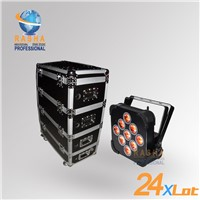 24X 9pcs*10W RGBA/RGBW Wireless& Battery Power LED Par Light With Cooling System Stackable Road Case