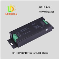 10A*1Channel DC12--24V 0-10V & 1-10V LED Constant Voltage dimmable driver for LED strips MR16
