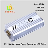 LED dimmable power supply 0/1-10V LED Constant Voltage dimmable power supply for LED strips12V 180W