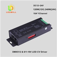1CH DMX512 & 1-10V CV Driver with RJ45 port connector DMX512 Decoder led lamps with lights