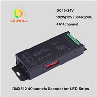 4CH DMX512 CV Driver with RJ45 Port connector RGBW DMX512  Decoder led lamps with lights spotlights
