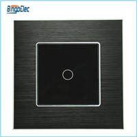 EU/UK standard aluminum and glass panel 1gang 1way touch wall switch