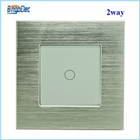 EU/UK standard aluminum and glass panel 1gang 2way touch wall switch