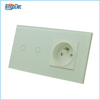 EU standard 2gang 1way touch wall switch and 16A french socket