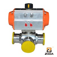 Pneumatic Sanitary Clamp Ball valve 3 way stainless steel ball valve