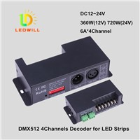 RGBW DMX512 CV Driver with XLR-3 RJ45 & Wire connector DMX512 4Channels decoder led lighting lamps