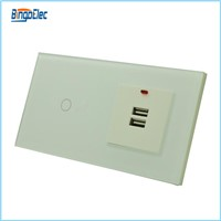eu/uk standard 1gang1way touch switch and usb wall socket