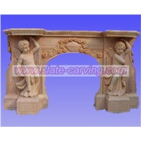 statue carved fireplace,stone fireplace,carvde fireplace