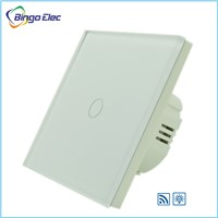EU/UK type glass panel 1gang 1way remote dimmer touch switch