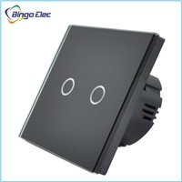 Eu/uk standard glass panel black color 2gang 1way touch wall switch