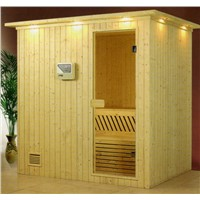 Integration of portable tradional single sauna room made from spruce wood finland white wood