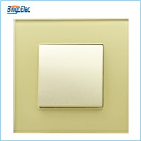 Toughened glass panel golden 1gang 2way pudh button switch