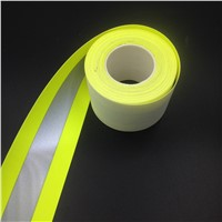 Fluorescent Lime Yellow  Flame Resistant Reflective Fabric Tape Sew on