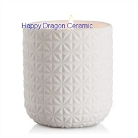 White Cermamic Candle Containers with engravement, candle cups