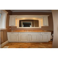 white frameless solid wood bathroom cabinet