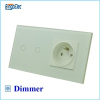 EU standard 2gang dimmer 700W touch switch and 16A french socket
