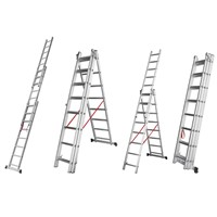 aluminum stairs combination extension ladders 3x8steps FOB Ningbo 40.8USD