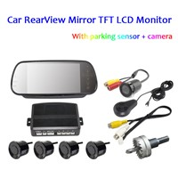 LCD Mirror Monitor HD Night Vision Camera 4 Sensors Universal Car Parking Rear View System