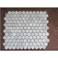 "Carrara White Marble Polished  1"" x3""Herringbone Mosaic Tile"