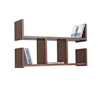 Double U Shape Home Wall Wood Shelf / Rack