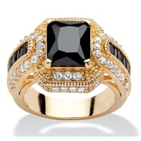 Wholesale 14k Yellow Gold plated black cubic zirconia 925 silver rings