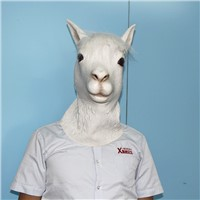 Latex white animal alpaca head halloween mask cosplay costumes