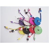 Fabric Nylon Micro USB cable colorful USB V8 charging cable for cell phone Samsung HTC Motorola