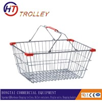 cheap wire mesh grocery shopping baskets with two handles wholesale