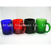 natural color glass mug with handle, frosted drinkware