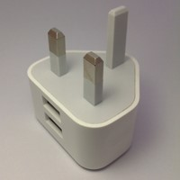 2Ports USB Wall Charger 2.1A UK 3Pin For iPhone iPad