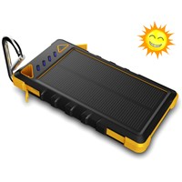 Portable Mobile Solar charger, 8000mah waterproof power bank