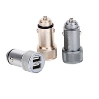 Travel usb car charger for mobile phone New design 5V 3.4A output aluminum universal car charger