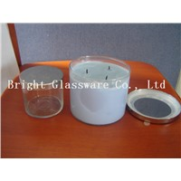 fashion design glass candle holder with metal lid