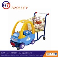 Supermarket baby shopping trolley with a toy car