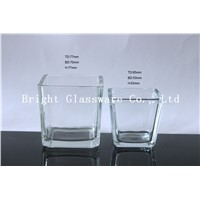 square glass candle holder/ candle container (BGS077 018)