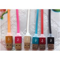 20cm Aluminium alloy head colorful USB silica gel cable for connecting power bank with cell phone