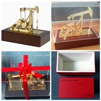 Diecast Zinc Alloy, Wood & Acrylic Plastic Oil Pumping Unit Model with Music Box
