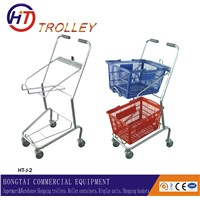 Japanese style Double Basket Supermarket Shopping Trolley Cart for Sale