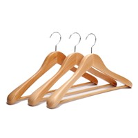 Rounded Shoulders Wood Coat Hanger with Rib Bar Suit Hanger and Polished Chrome Hook