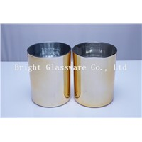 Custom Wedding Decoration Electroplated Gold Glass Votive Candle Holders