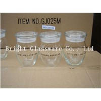 high quality glass storage jar, candy container with lid
