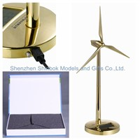 Golden Metal Wind Generator Model with Digital Clock