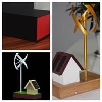 Vertical Axis Wind Turbine Model with Small Solar House