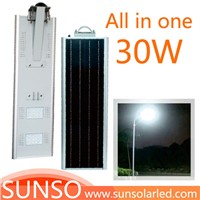 30W All in one solar powered LED Wall mounted, Park, Villa, Village light with motion sensor