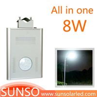 8W Integrated solar powered LED yard, security, security, Prairie light with motion sensor function